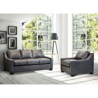 Made in USA Idris Distressed Grey Top Grain Leather Sofa and Chair