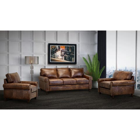 Made in USA Cabot Brown Top Grain Leather Sofa and Two Chairs