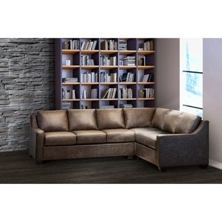 Link to Made in USA Sandler Distressed Brown Top Grain Leather Sectional Sofa Similar Items in Living Room Furniture