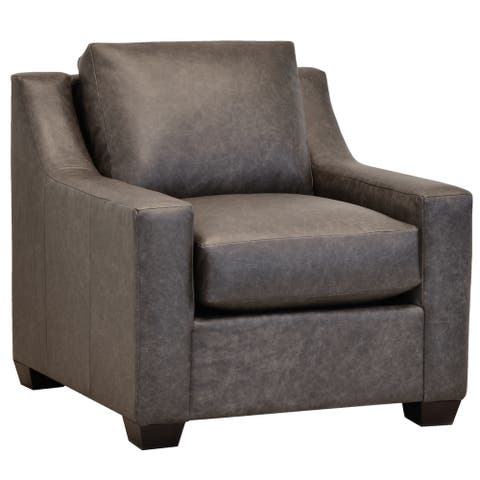 Made in USA Idris Distressed Grey Top Grain Leather Chair