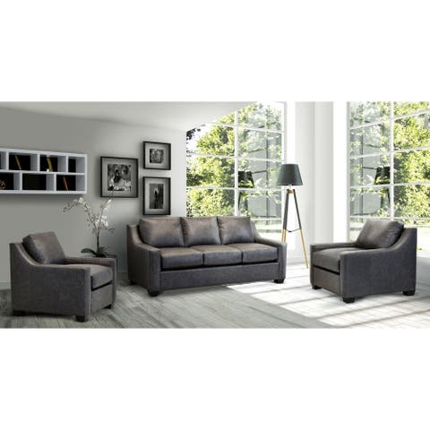 Made in USA Idris Distressed Grey Top Grain Leather Sofa and Two Chair