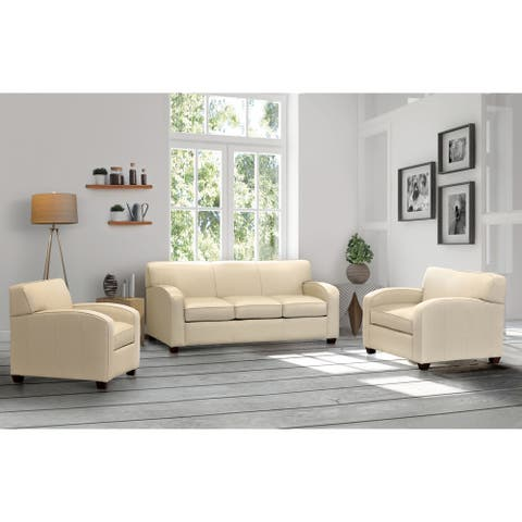 Made in USA Hawthorn Cream Top Grain Leather Sofa and Two Chairs