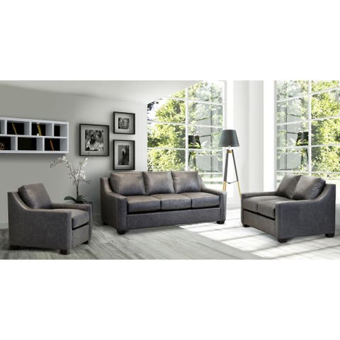 Idris Distressed Grey Top Grain Leather Sofa, Loveseat and Chair