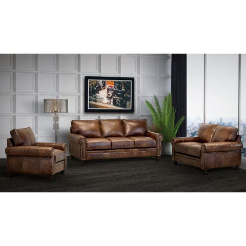 Made in USA Cabot Brown Top Grain Leather Sofa, Loveseat and Chair