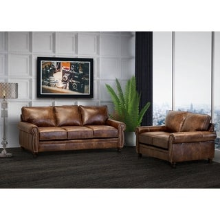 Made in USA Cabot Brown Top Grain Leather Sofa and Loveseat
