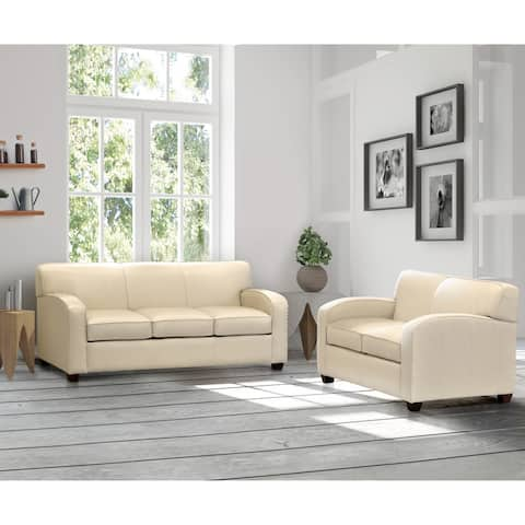 Made in USA Hawthorn Cream Top Grain Leather Sofa and Loveseat