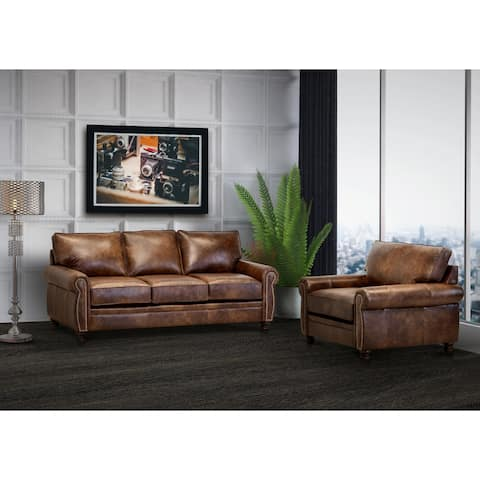 Made in USA Cabot Brown Top Grain Leather Sofa and Chair
