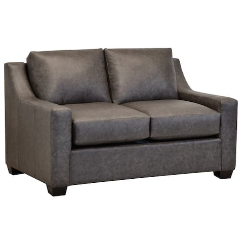 Made in USA Idris Distressed Grey Top Grain Leather Loveseat
