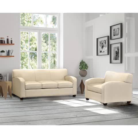 Made in USA Hawthorn Cream Top Grain Leather Sofa Bed and Chair