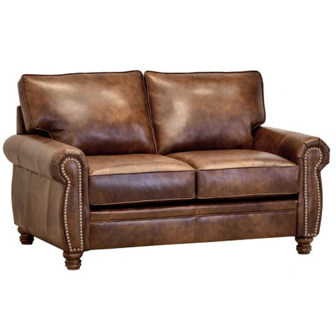 Made in USA Cabot Brown Top Grain Leather Loveseat