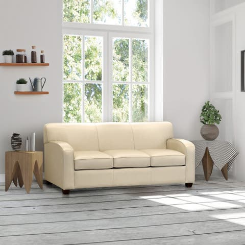 Made in USA Hawthorn Cream Top Grain Leather Sofa Bed