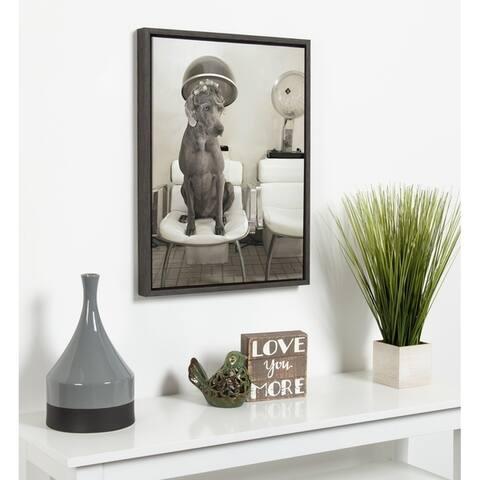 DesignOvation Sylvie Dog Salon Framed Canvas by Robin A. Bell