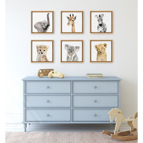 Kate and Laurel Sylvie Safari Animal Framed Canvas Art Set by Amy Peterson