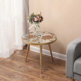 Carson Carrington Pavagarden Metal and Mirror Flower Accent Table
