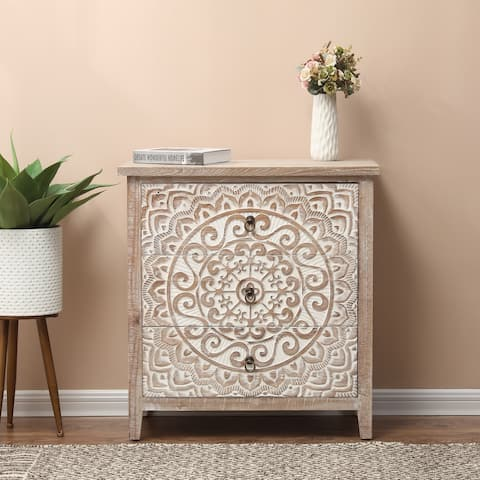 Wood Medallion Three-Drawer Storage Cabinet