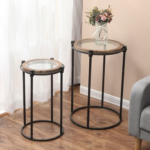 Carbon Loft Satine Metal and Glass Round Accent Table (Set of 2)