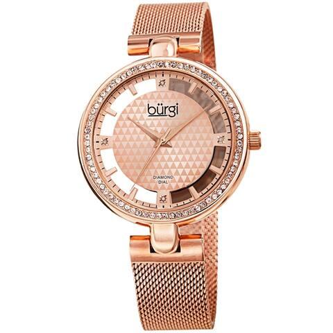 Burgi Women's Quartz Cut Out Swarovski Crystal and Diamond Mesh Band Watch