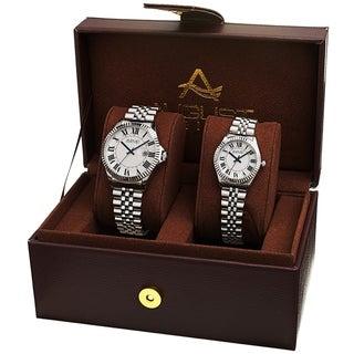 August Steiner His and Hers Swiss Quartz Stainless Steel Bracelet Watch Set