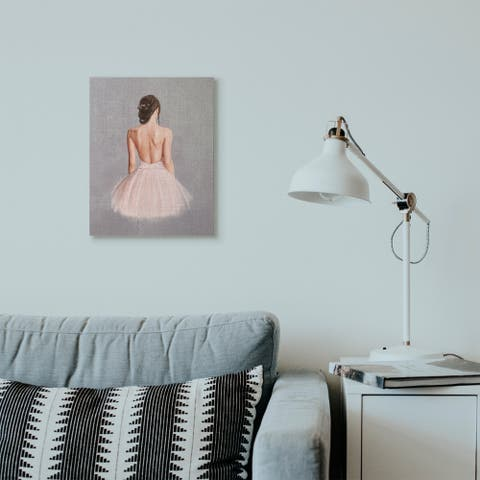 Stupell Industries Ballerina Girl Figure Pink Grey Painting Canvas Wall Art, Proudly Made in USA