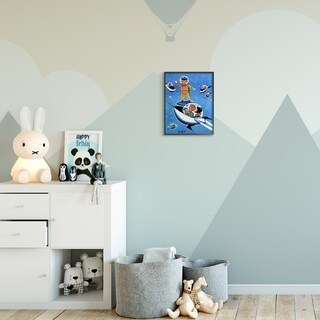 The Kids Room by Stupell Space Adventure Cartoon Blue Yellow Kids Nursery Painting Framed Wall Art, Proudly Made in USA
