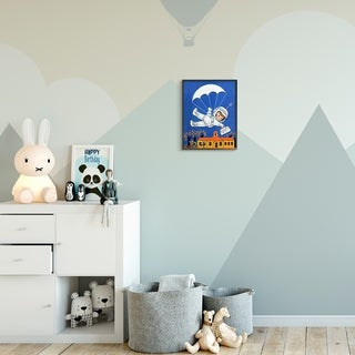 The Kids Room by Stupell Space Landing Cartoon Kids Nursery Painting Framed Wall Art, Proudly Made in USA