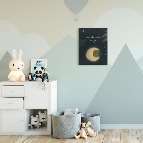 The Kids Room by Stupell Over The Moon Kids Nursery Textured Drawing Design Canvas Wall Art, Proudly Made in USA
