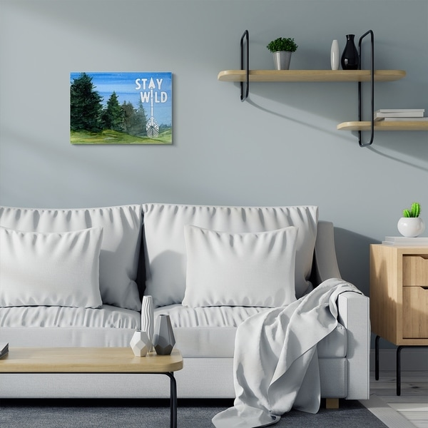 Stupell Industries Stay Wild Forest Landscape Blue Green Word Painting Canvas Wall Art, Proudly Made in USA