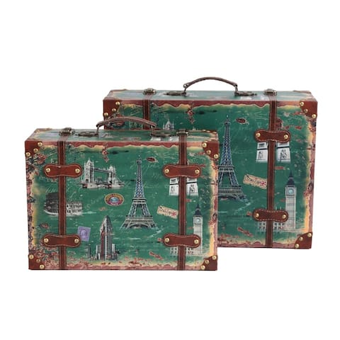 Set of 2 European Landmarks Vintage Wooden Luggage