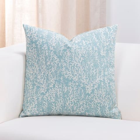 Porch & Den Stein Blue Coral Pattern Throw Pillow