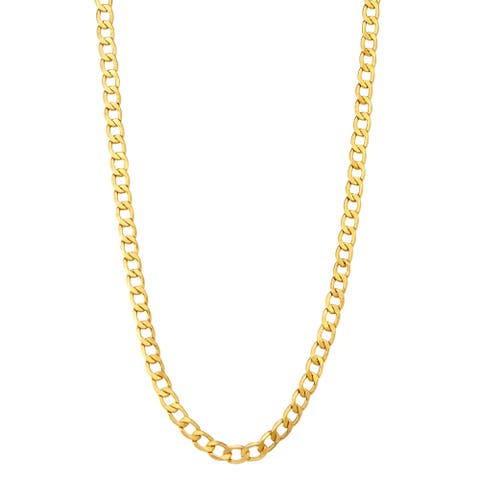 14K Gold Men's 5.2mm Curb Chain Necklace by Gioelli Designs