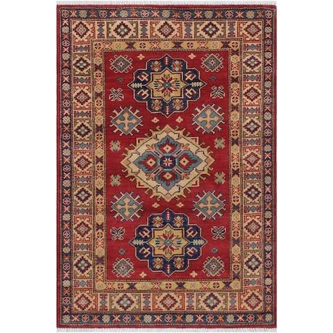 "Super Fine Tribal Kazak Stacia Red/Beige Hand-knotted Wool Rug - 3'0 x 4'8 - 3'0"" x 4'8"" - 3'0"" x 4'8"""