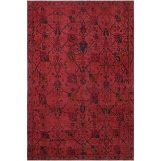 "Vintage Distressed Candance Red/Pink Hand-knotted Wool Rug (7'4 x 9'10) - 7'4"" x 9'10"""