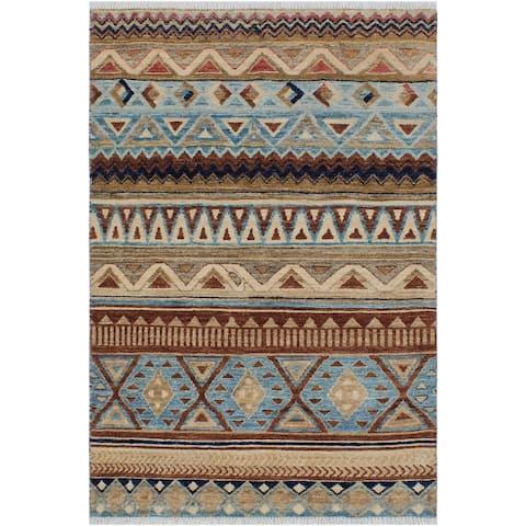 "Ziegler Kafkaz Anjelica Beige/Brown Hand-knotted Wool Rug - 3'1 x 4'9 - 3'1"" x 4'9"" - 3'1"" x 4'9"""