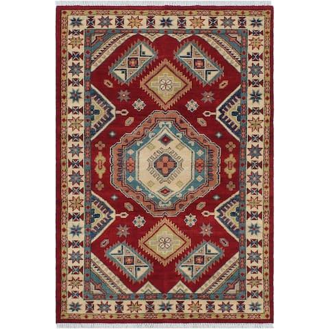 "Afghan Super Fine Tribal kazak Raven Red/Beige Hand-knotted Wool Rug - 3'2 x 5'0 - 3'2"" x 5'0"" - 3'2"" x 5'0"""