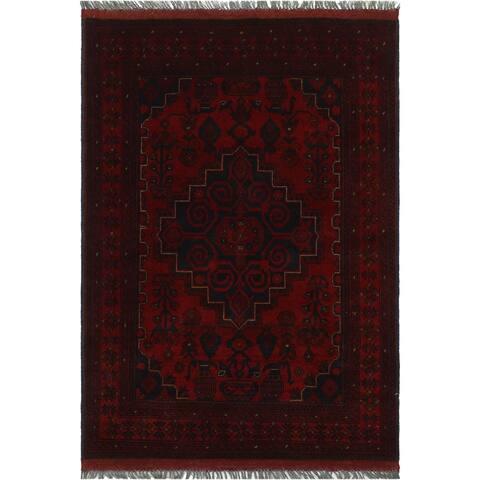 "Tribal Khal Mohammadi Judi Red/Blue Hand-knotted Wool Rug - 3'5 x 4'10 - 3'5"" x 4'10"" - 3'5"" x 4'10"""