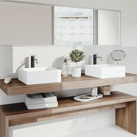 VIGO Dianthus Matte StoneTM Vessel Bathroom Sink and Lexington cFiber Vessel Faucet Set in Brushed Nickel