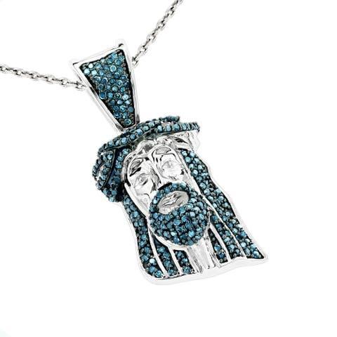 Luxurman 10k Gold 1/2ct TDW Blue Diamond Jesus Head Mini Pendant with Cable Chain