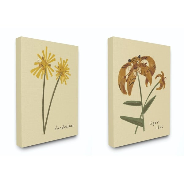 The Kids Room by Stupell Dandelions And Tiger Lilies Flowers Cute Canvas Wall Art, Proudly Made in USA
