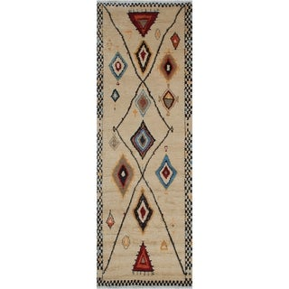 "Bohemian Moroccan Chrissy Beige/Gold Hand-knotted Wool Rug - 4'10 x 12'4 - 4'10"" x 12'4"""