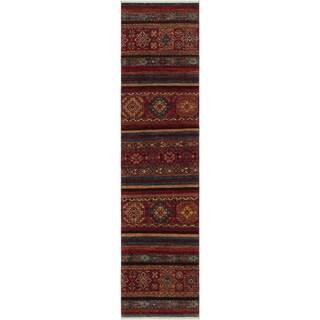 "Tribal Khurgeen Quinn Drk. Red/Chocolate Hand-knotted Wool Rug - 2'8 x 9'7 - 2'8"" x 9'7"""