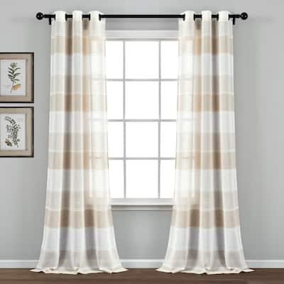 "The Gray Barn Done Roamin Textured Stripe Sheer Window Curtain Panel Pair - 84"" x 38"" - 84"" x 38"""