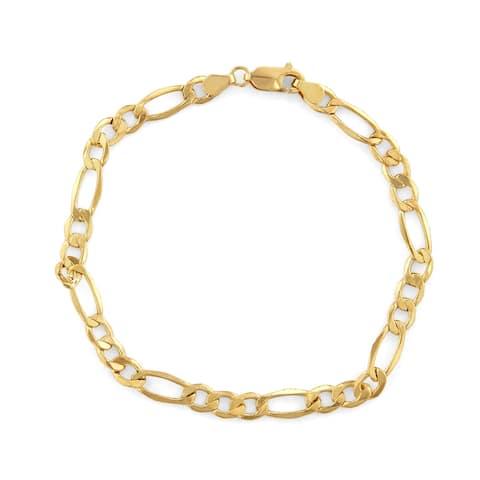 14K Gold Men's 5.65mm Figaro Chain Bracelet by Gioelli Designs