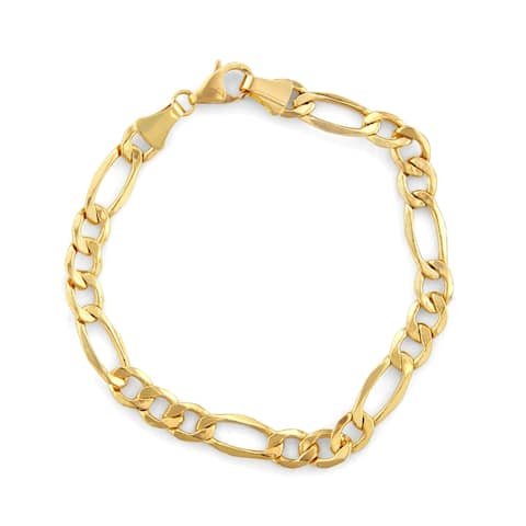 14K Gold Men's 7.2mm Figaro Chain Bracelet by Gioelli Designs