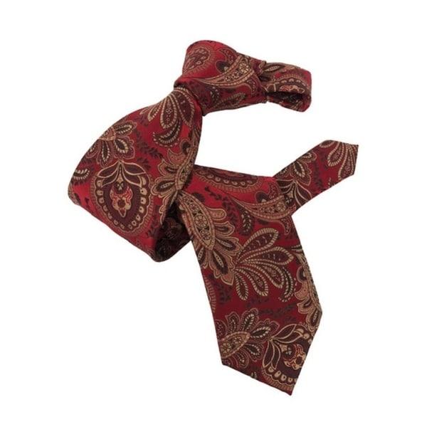 DMITRY 7-Fold Red Patterned Italian Silk Tie