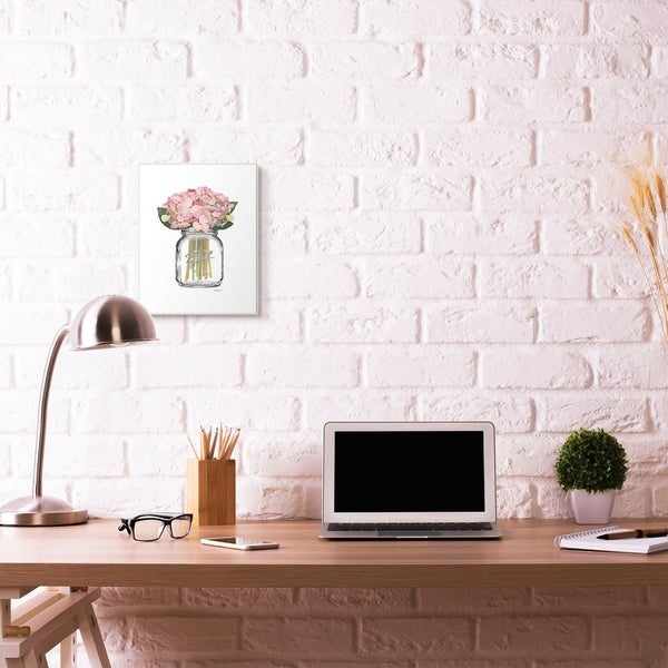 Stupell Industries Fashion Designer Flower Jar Pink Watercolor Wood Wall Art, Proudly Made in USA