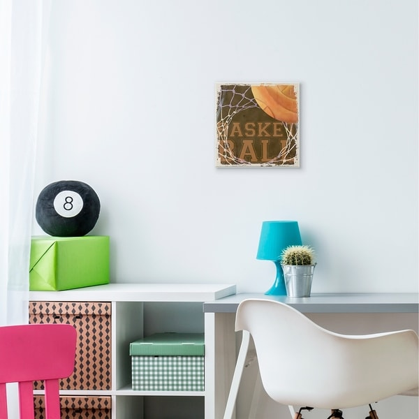 The Kids Room by Stupell Basketball Hoop Sports Word Design Wood Wall Art,12x12, Proudly Made in USA