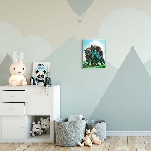 The Kids Room by Stupell Dinosaur Field Green Blue Kids Nursery Painting Wood Wall Art, Proudly Made in USA