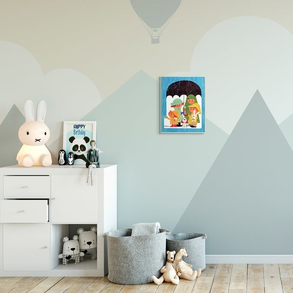 The Kids Room by Stupell Rainy Day Family Cartoon Blue Green Kids Nursery Painting Wood Wall Art, Proudly Made in USA