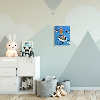 The Kids Room by Stupell Space Adventure Cartoon Blue Yellow Kids Nursery Painting Wood Wall Art, Proudly Made in USA