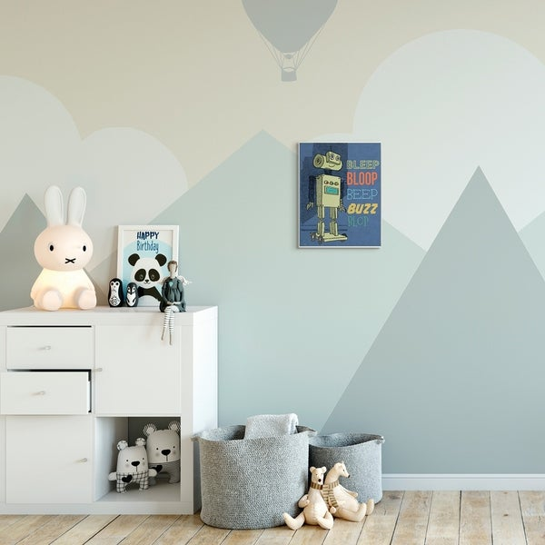 The Kids Room by Stupell Beep Bloop Cartoon Robot Kids Nursery Design Wood Wall Art, Proudly Made in USA